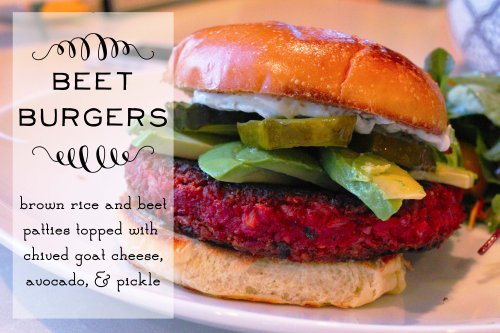 beet burgers - brown rice and beet patties topped with chived goat cheese
