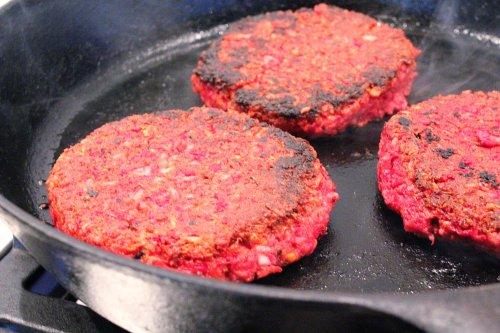 beet burgers, patties frying