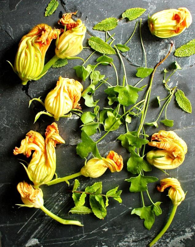 squash blossoms and fresh herbs