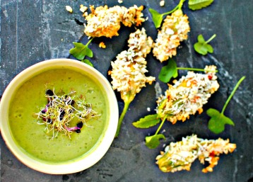 cream of avocado soup with baked stuffed courgette blossoms