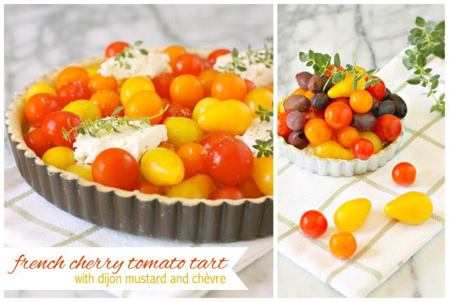 French Cherry Tomato Tart with Dijon Mustard and Chèvre | daisysworld.net