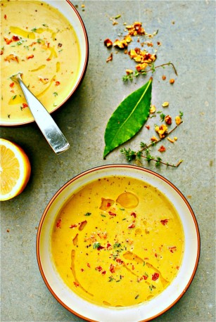 Yellow squash, walnut and lemon thyme soup